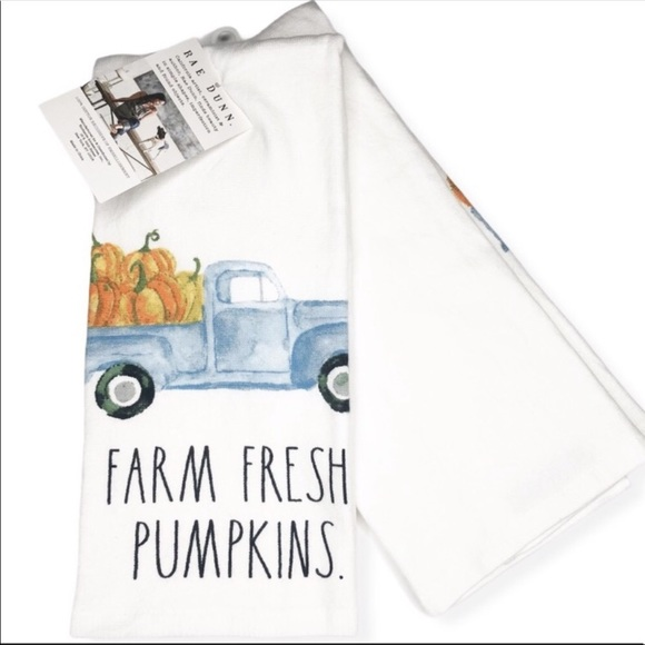 New Rae Dunn Set of 2 Thanksgiving Kitchen Towels